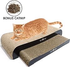 Lovinouse Cat Scratcher Lounge, 2 in 1 Cats Scratching Cardboard with Catnip, Corrugated Cardboard Kitty Scratch Pad Prevents Furniture Damage