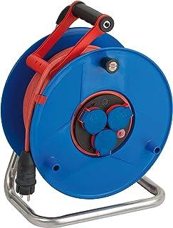 Brennenstuhl Garant Bretec IP44 Gewerbe-/Baustellen-Kabeltrommel 50m Kabel, Spezialkunststoff, Baustelleneinsatz und ständiger Einsatz im Außenbereich, Made in Germany rot