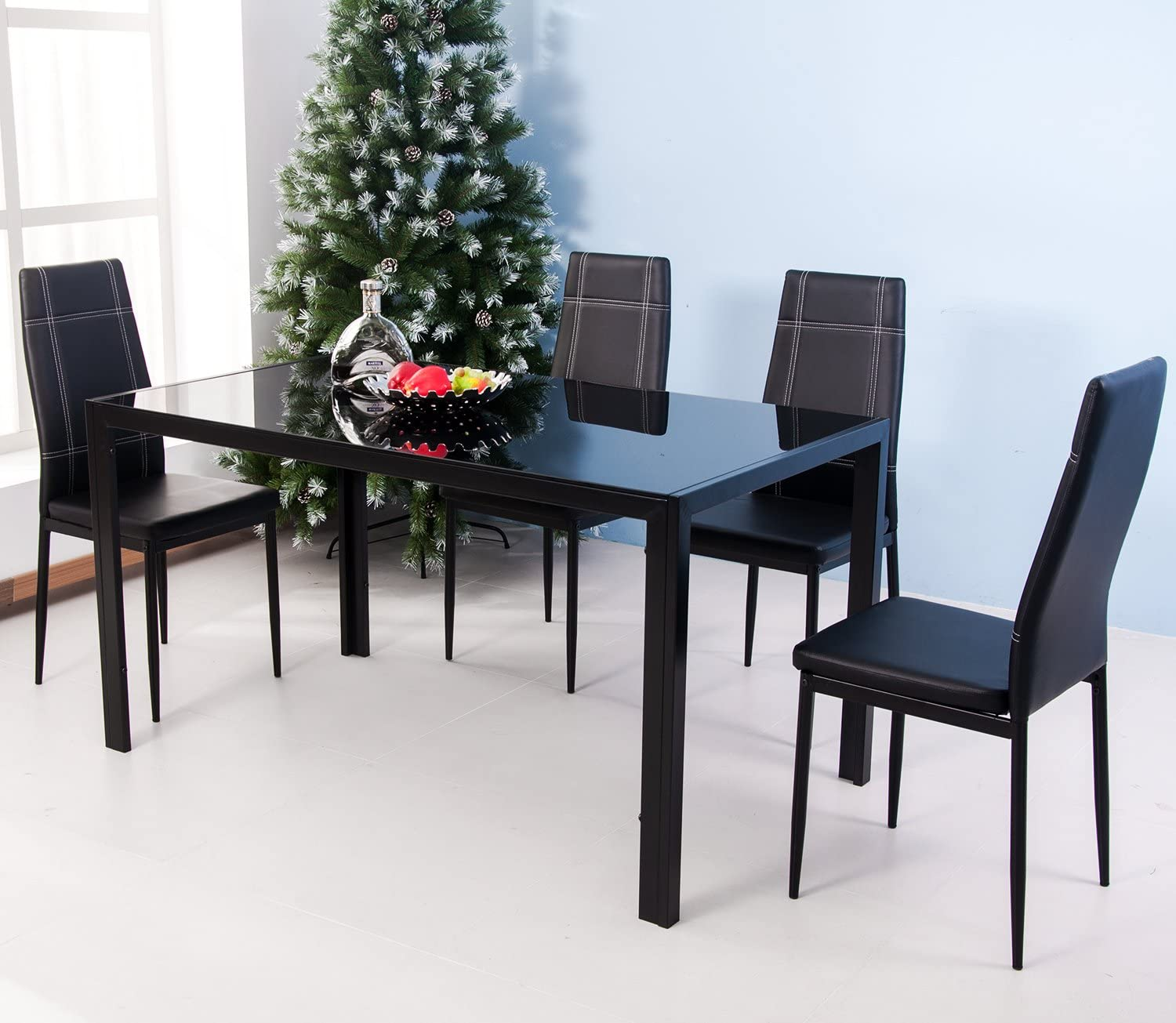 Modern Metal Kitchen Table with High Black Chairs Home Furniture ...