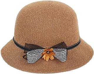 SHENLIJUAN Women's hat, Straw hat, Refreshing, Breathable, Foldable, Straw hat, 57 cm, Adjustable (Color : Brown, Size : M56-58cm)