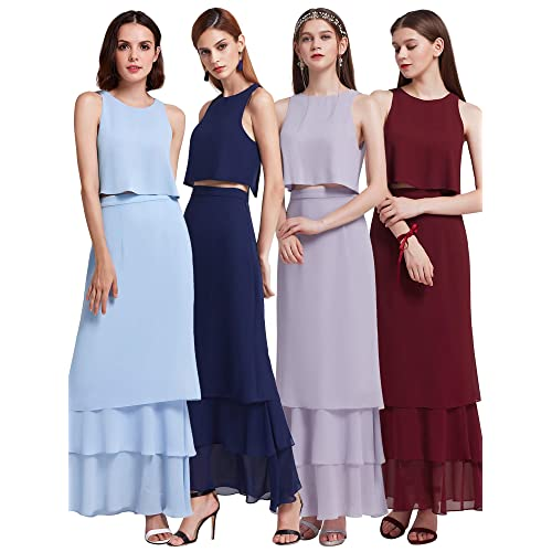 Ever-Pretty Womens Elegant Sleeveless Floor Length Ruffles Chiffon Bridesmaids  Dress 07201 cffe2f3f99b0