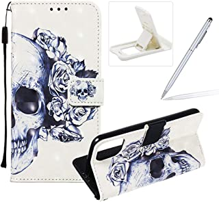 Herzzer Strap Leather Case for iPhone 11 Pro,Wallet Flip Case for iPhone 11 Pro, Stylish Elegant 3D Blue Flower Pattern Magnetic Stand PU Leather Case with Soft TPU