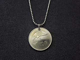 CoinageArt Irish Fish Coin Necklace 10 Pence Necklace from Ireland coin dated 1978 on Stainless Steel Ball Chain 24 inch Adjustable Length -Ireland Coin Necklace -Eire Salmon 822