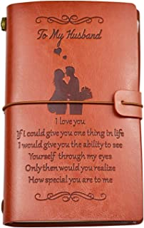 """To My Husband Leather Journal from Wife,Gift for Husband,136 Page 7.9""""x4.7"""" for Wedding, Husband Birthday"""
