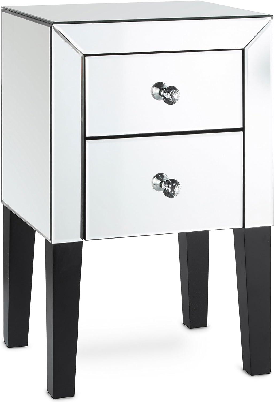 Beautify Verspiegelter Nachttisch mit 2 hohen glnzenden silbernen Schubladen