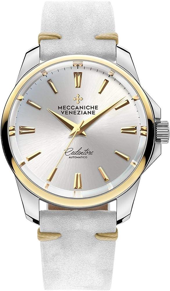 Meccaniche veneziane orologio da donna automatico in acciaio 316l cinturino in pelle 1300006