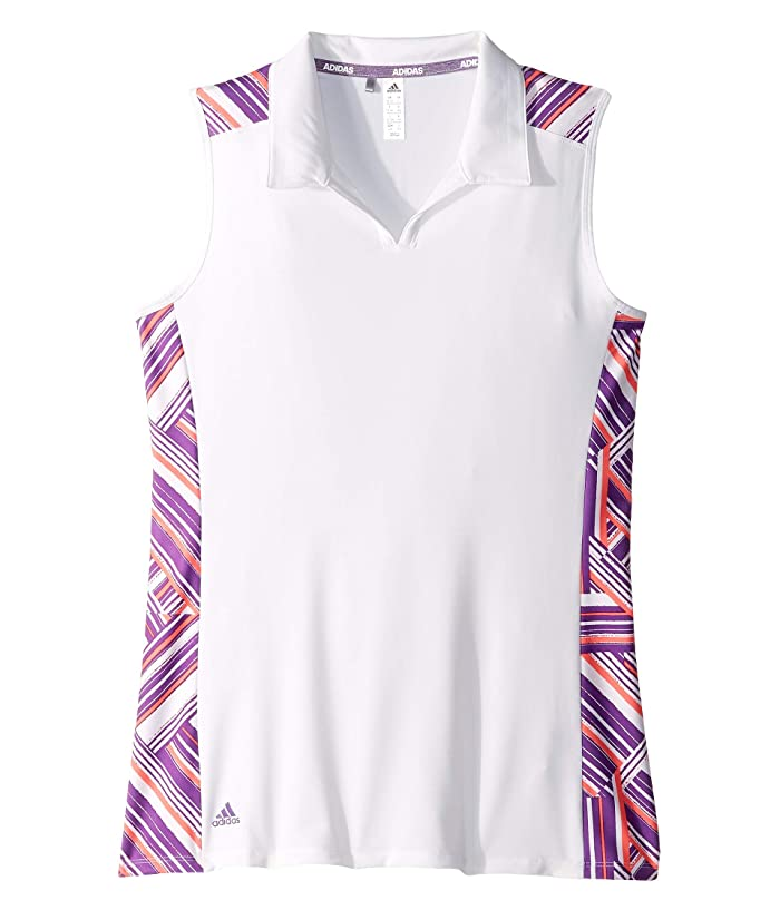 adidas Golf Kids  Novelty Sleeveless Polo (Big Kids) (White/Active Purple) Girls Sleeveless