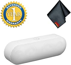 Beats Dr. Dre Pill+ Plus Wireless Portable Bluetooth Speaker Bundle with Fibercloth and 1-Year Extended Warranty (White)