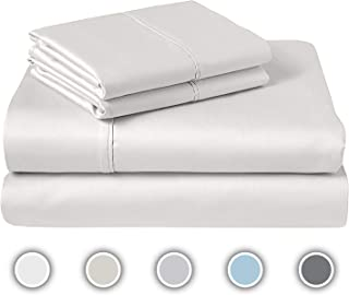 """COZERI 600 Thread Count Luxury Sheet Set, 100% Cotton Sheets, Breathable, Soft & Silky Sateen Weave, Fits Mattress Upto 17"""" Deep Pocket, 4 Piece Bed Sheets Set - (Queen, White)"""