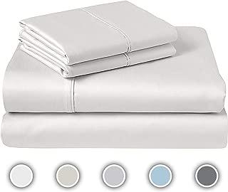 600 TC Full Sheet Bed Set, 100% Pure Cotton, Soft & Silky Sateen Weave, Luxury Bedding, Fits Mattress Upto 17