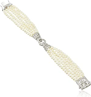 Sterling Silver Cubic Zirconia and Freshwater Cultured Pearl Bracelet, 7
