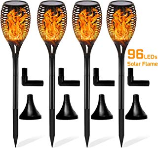 Otdair Solar Torch Lights Waterproof Flickering Flame Solar Torches Dancing Flames 96 LED Landscape Decoration Lighting Dusk to Dawn Outdoor Security Path Light for Garden Patio Driveway (4 Packs)