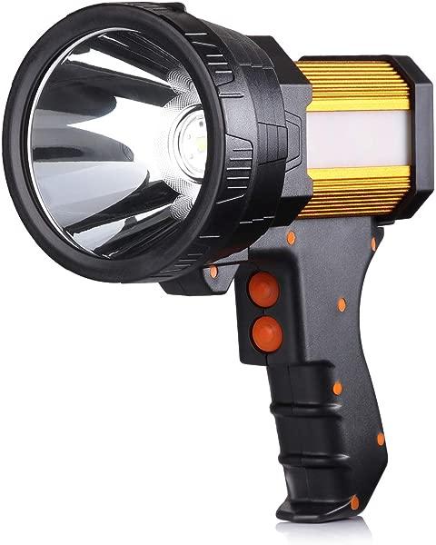 BUYSIGHT 可充电聚光灯手持式大手电筒 6000 流明手持聚光灯轻便超亮手电筒户外聚光灯手电筒露营洪水探照灯