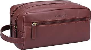 Banuce Vintage Full Grain Italian Leather Toiletry Bag for Men Women Hanging Travel Organizer Kit