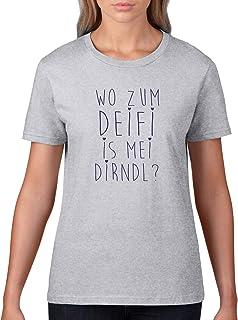 Comedy Shirts Wo zum Deifi is MEI Dirndl - Damen T-Shirt - Rundhals, 100% Baumwolle, Kurzarm Top Basic Print-Shirt