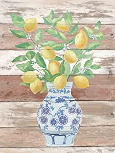 Lemon Wall Art Painting Farmhouse Decor Yellow Fruit White Flower and Green Leaves Branches in Blue and White Porcelain Floral Vase Picture Print for Home Decorative Poster 12x16 Inch