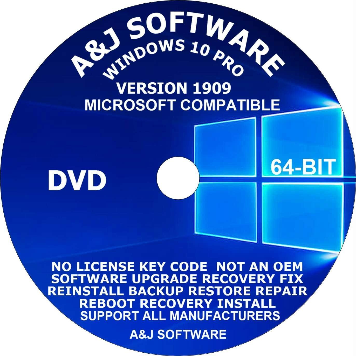 WINDOWS 10 PRO Popularity Free shipping New 64-BIT BACKUP DVD REC 1909 VERSION UPGRADE LATEST