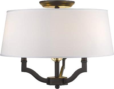 Beige Linen Drum Shade Oil-Rubbed Bronze Finish RV-CSF566-853-OB-LM Kira Home Newport 14 2-Light Semi-Flush Mount Ceiling Light