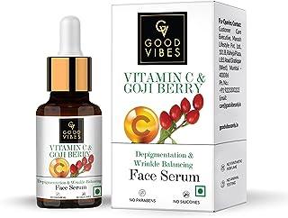 Good Vibes Vitamin C & Goji Berry Depigmentation & Wrinkle Balancing Face Serum, 10 ml Light Weight Formula With Anti Agei...