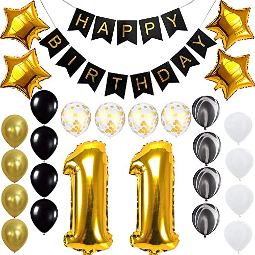 Happy 11th Birthday Banner Balloons Set for 11 Years Old Birthday Party Decoration Supplies Gold Black