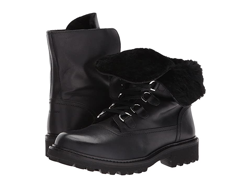 Dolce & Gabbana Kids Lace-Up Boot (Little Kid/Big Kid) (Black) Boys Shoes
