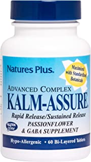 NaturesPlus Kalm-Assure, Sustained Release - 60 Vegetarian Tablets - Calm Relaxation Support Supplement with Passionflower, GABA, Chamomile & Magnesium - Gluten-Free - 60 Servings