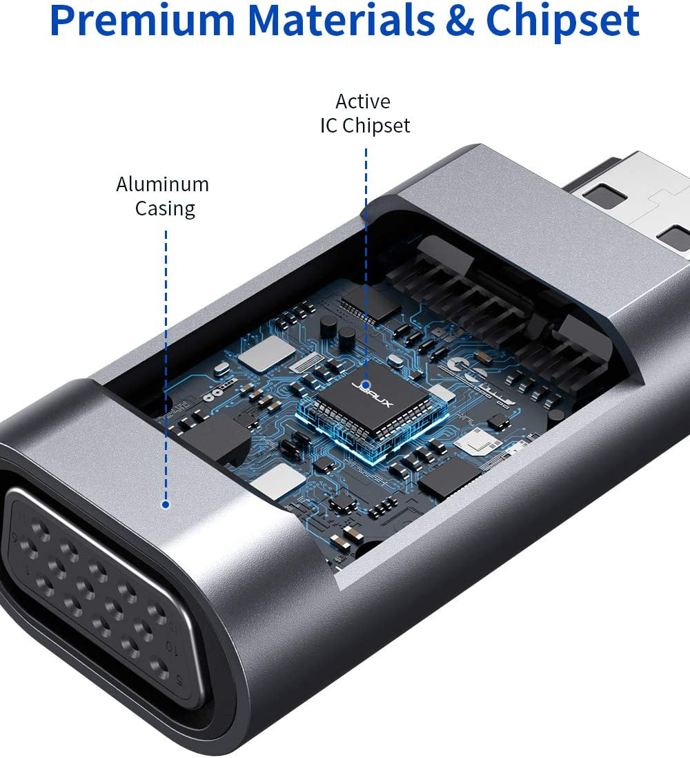 HDTV JSAUX Adattatore HDMI a VGA PS4//3 Chromebook TV 1080P HDMI to VGA Cnvertitore Adattatore VGA HDMI per Computer Portatili Monitor Raspberry Pi TV Stick ECC- Rosso Desktop Xbox