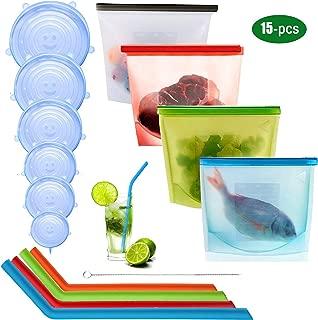 Bolsa de conservación de alimentos de silicona reutilizable de 4 piezas,6 unids Tapón de Silicona Tapas Reutilizables Tapas,4 pajitas de silicona,1 cepillos de limpieza para Almacenamiento Alimentos