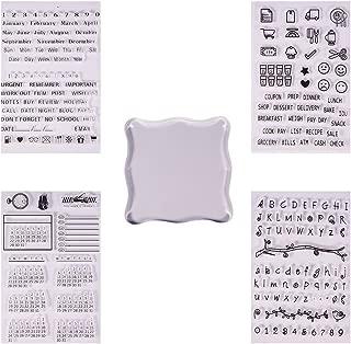 PH PandaHall 5点セット クリアスタンプ (4枚) シリコンスタンプ 樹脂 数字・アルファベット・日付・生活雑貨など リサイクル ステッカー(貼り付け不可)アクリルパネル (1個) 手帳用 カレンダー用 アルバム用