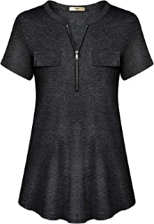 Luranee Womens Casual Summer Tunic Top Short Sleeve Flowy Loose Zip Blouse Shirt