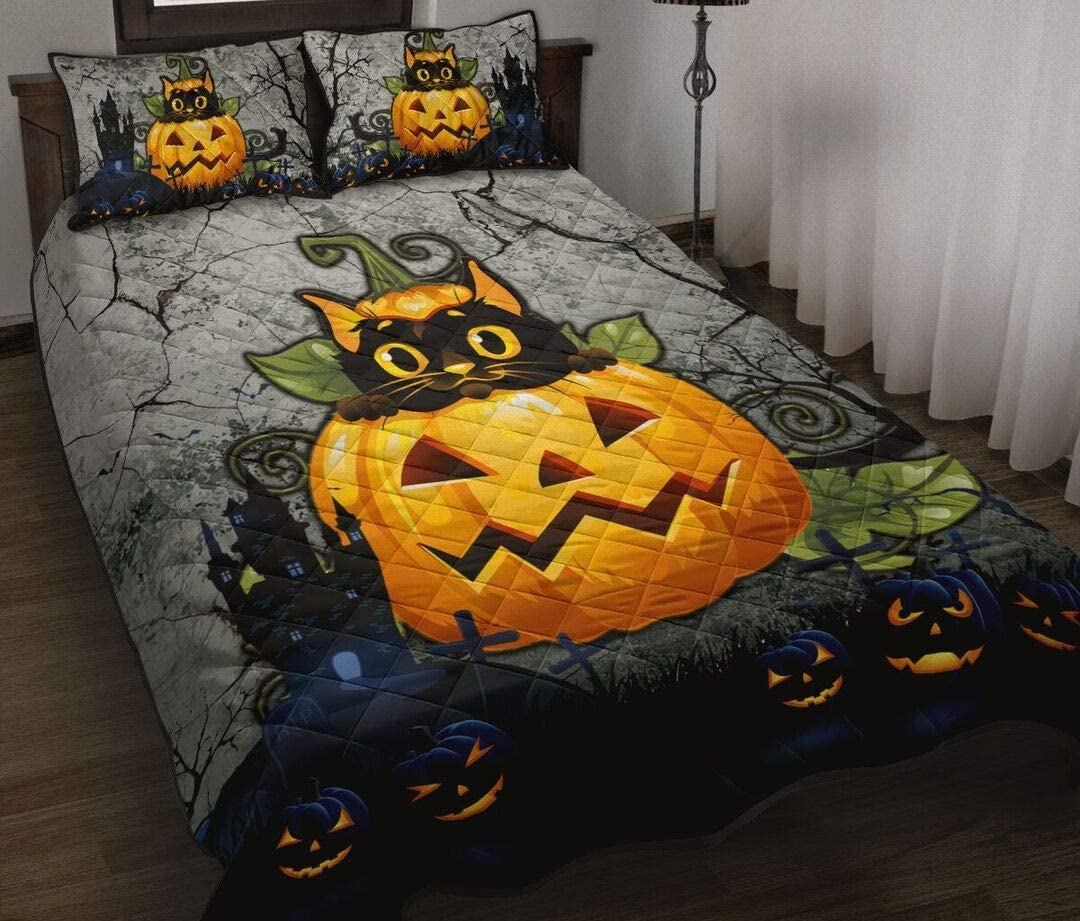 Sales for sale Personalized Cat Halloween Style Quilt Bed King Queen Classic Twin Set T