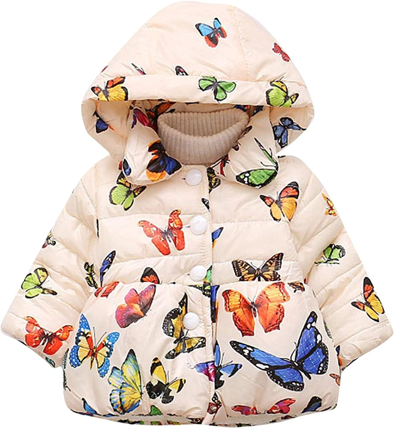 Kids Girl Butterfly Print Cash special price Max 42% OFF Winter Cotton Snowsu Parka Coat Hooded