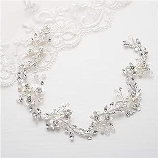 SWEETV Rhinestone Bridal Headband Silver, Headpiece Head Band Wedding Hair Piece Accessories for Brides, Women