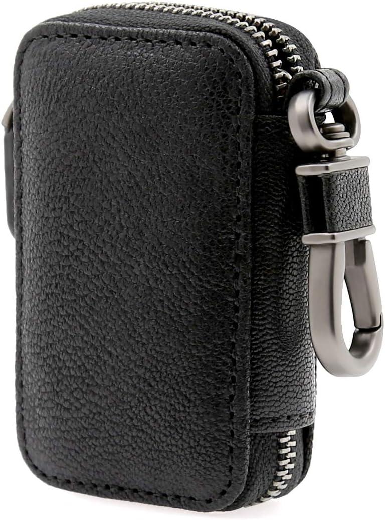 Grain-DeepPurple AslabCrew Car Key Case Genuine Leather Keychain Holder Metal Hook and Keyring Zipper Bag for Remote Key