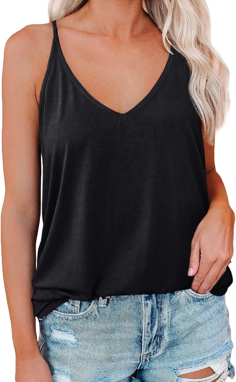 LUOLON Women Sexy V-Neck Tank Tops Loose Fit Soft Spaghetti Strap T-Shirt