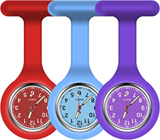 Vicloon Reloj de Bolsillo de Silicona con Broche, 3 Piezas Reloj de Enfermera de Bolsillo para Enfermera con Broche para U...