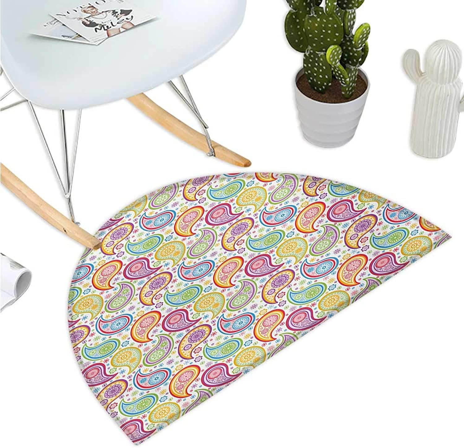 Paisley Semicircular Cushion colord Patterned Backgrounded with Old Paisley Flowers and Circles Artwork Entry Door Mat H 35.4  xD 53.1  Multi colord