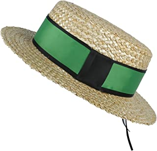 Songlin @ yuan Fashion Good Looking 100% Natural Wheat Straw Women Beach Sun hat with Flat Pork Pie Lady Fashion Boater Sunhat (Color : Green, Size : 57-58cm)
