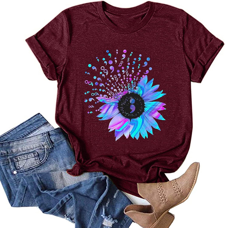WYBAXZ Womens Cat Letter Printed Short Sleeve Shirt Casual Tops Womens Summer Crewneck Graphic Tee Shirt Blouse Tops