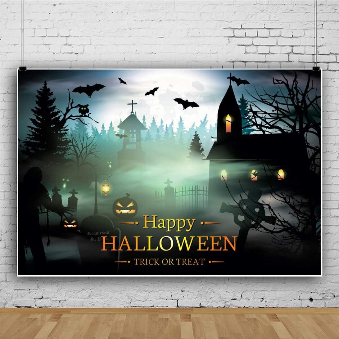 CSFOTO 14x10ft Cartoon Happy Halloween Backdrop Foggy Forest Grimace Pumpkin Bat House Halloween Party Decor Background for Photography Halloween Photo Wallpaper