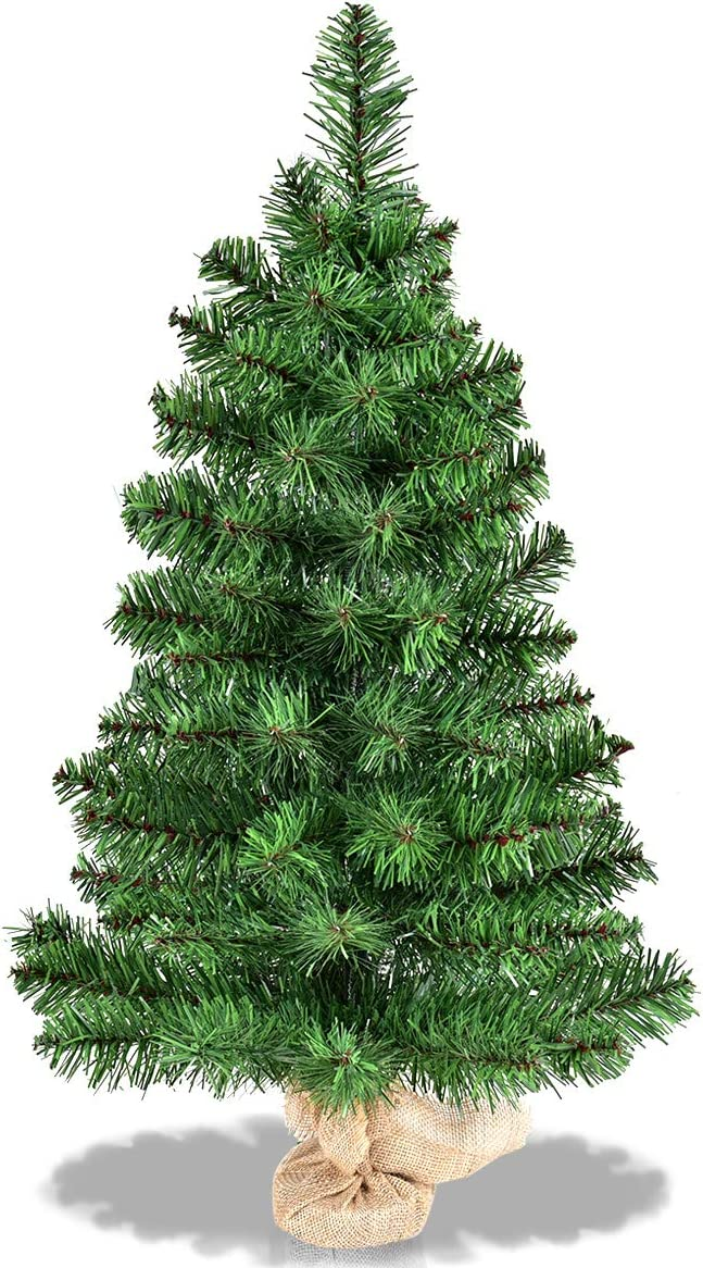 3FT 2 of 2FT CASART Small Miniature Christmas Tree with Stable Burlap Base Eco-friendly Material // 3FT Tabletop Model Trees for DIY 60CM 90CM