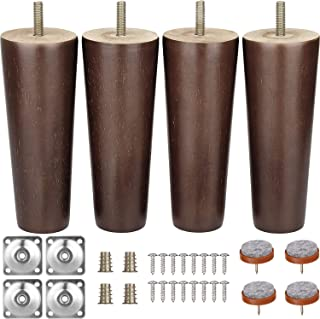 Furniture Legs 6 Inches Sofa Legs Mid Century Modern Walnut Wood Furniture Feet Replacement Legs with Leg Mounting Plates & Felt Protectors for Sofa Cabinet Couch Ottoman Coffee Table Bench Chair
