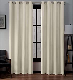 Exclusive Home Curtains Loha Linen Grommet Top Curtain Panel Pair, 54x84, Ivory, 2 Count