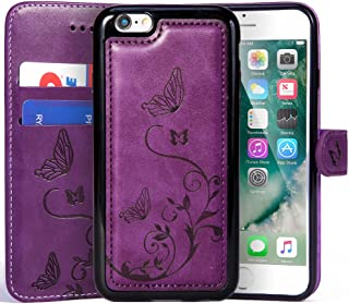 WaterFox Case for iPhone 8 Plus/iPhone 7 Plus, Wallet Leather Case with 2 in 1 Detachable Cover, Women's Vintage Embossed Pattern with 2 Card Slots & Wrist Strap Case - Purple