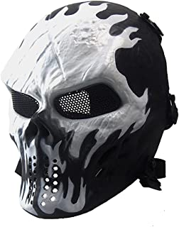Anyoupin Paintball Mask,Skull Full Face Airsoft Mask with Mesh Army Fans Supplies M06 Tactical Mask for Halloween Paintball Airsoft CS Game Cosplay and Party