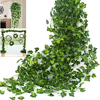 Artificial Ivy Leaves Garland 12 Pack(82 Feet) Faux Leaf Hanging Plants Indoor Outdoor Fake Foliage Ivy Vine Garland Scree...