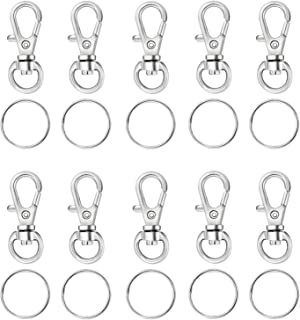 Houseables Key Chain Clip Hook Keychain Ring 100 Bulk Pack (50 Rings 50 Clasps) 1.5 3.8 cm Silver Metal Lanyard Snap Hooks Mini Swivel Clips Small Lobster Clasp DIY Parts Supplies Kit