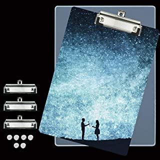 A4 Clipboard Resin Mold - 1PC A4 Letter Size Vertical File Folder Geode Agate Epoxy Silicone Tray Molds with 3 PCS Metal A...
