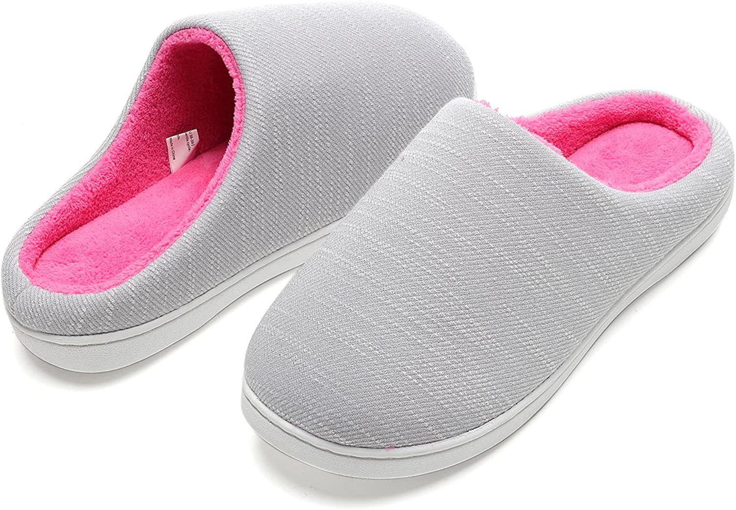 Men's and Women's Two-Tone Fuzzy Slip-on Memory Foam Slippers Faux Fur Lined Cozy House shoes for Indoor & Outdoor with Anti-Skid Sole