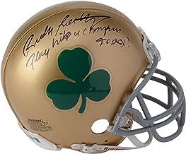 Rudy Ruettiger Notre Dame Fighting Irish Autographed Riddell Shamrock Logo Mini Helmet with